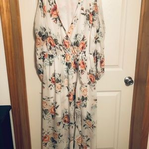 White beautiful dress with flowers long sleeve